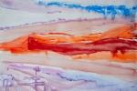 Růžové ruiny, akvarel, 69,5 x 49,2 cm