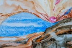 Krajina s růžovým panterem (Krajina s ňadrem), akvarel, 79,5 x 49,2 cm