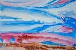 Krajina se dvěma papoušky, z nichž jeden je maketou, akvarel, 79,5 x 48,7 cm