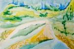Ostrov Naivity, akvarel, 79,5 x 48,7 cm, v soukromém vlastnictví
