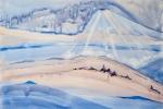 Poutník v nachu, akvarel, 79,5 x 48,7 cm