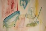 Očista, akvarel, tuš, A2, v soukromém vlastnictví