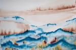 Čínská krajina, skica, akvarel, A4