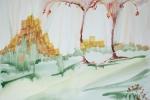 Mezi dvěma stromy, akvarel, A2