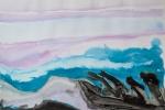 Golemové na pramici, akvarel, inkoust, A2