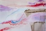 Modré hory v mlhách, akvarel, A2