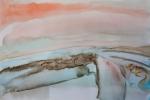 Žena s liškou proměňující se v krajinu, akvarel, A2