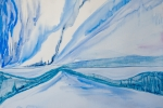 Ledová krajina, akvarel, 56,5 x 41,7 cm
