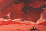 Kajakář v lávové řece (dle Ondry), tempera, malý čtvercový formát, v soukromém vlastnictví